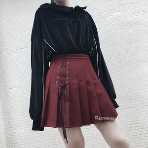 Lace-up Pleated Skirt SE21094