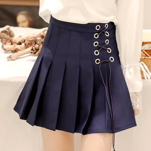 Lace-up Pleated Skirt SE20244