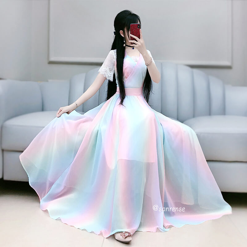 Lace Colorful Rainbow Dresses SE21082