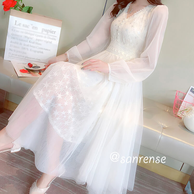Lace Flower Mesh Dress SE20946