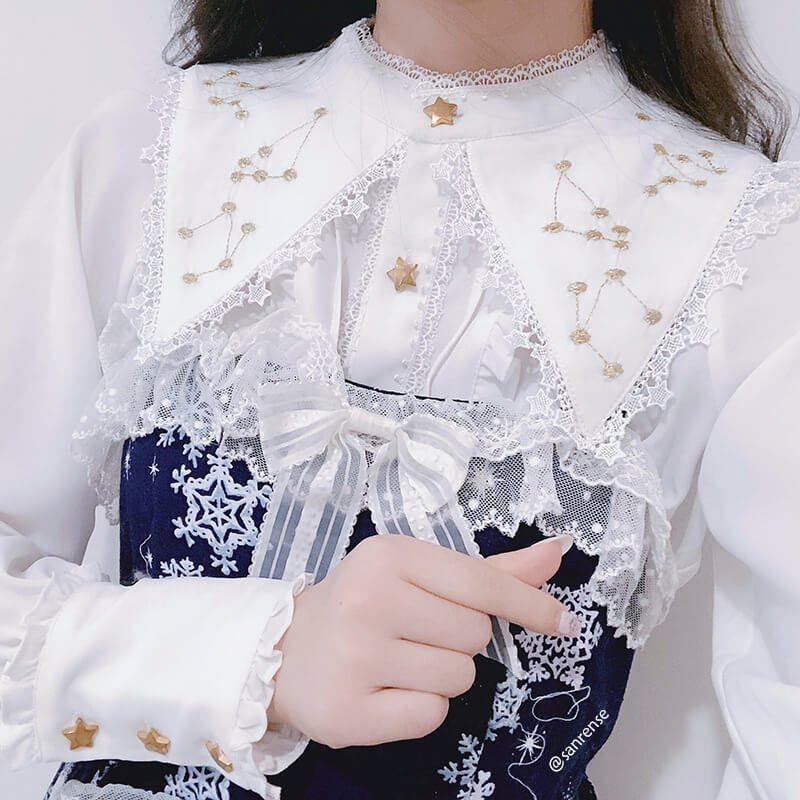 Lace Lolita Embroidered Galaxy Shirt SE21193