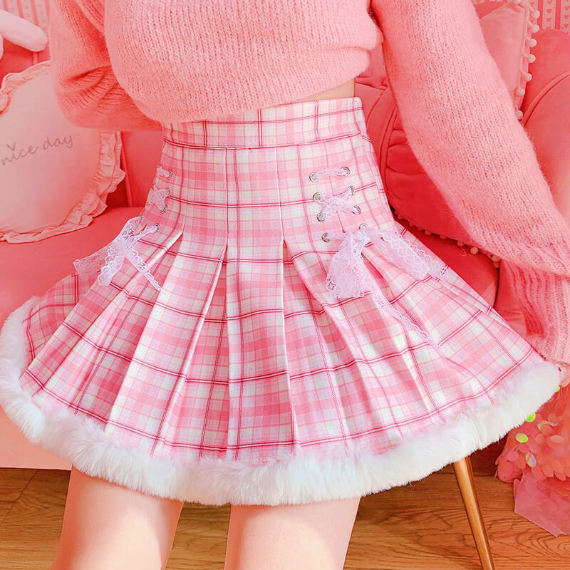 Lace Plaid  Warm Short Tutu Skirts SE21569