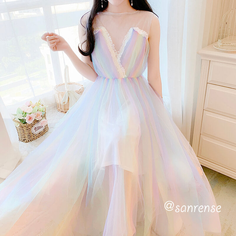 Lace Rainbow Mesh Vest Dress SE20972
