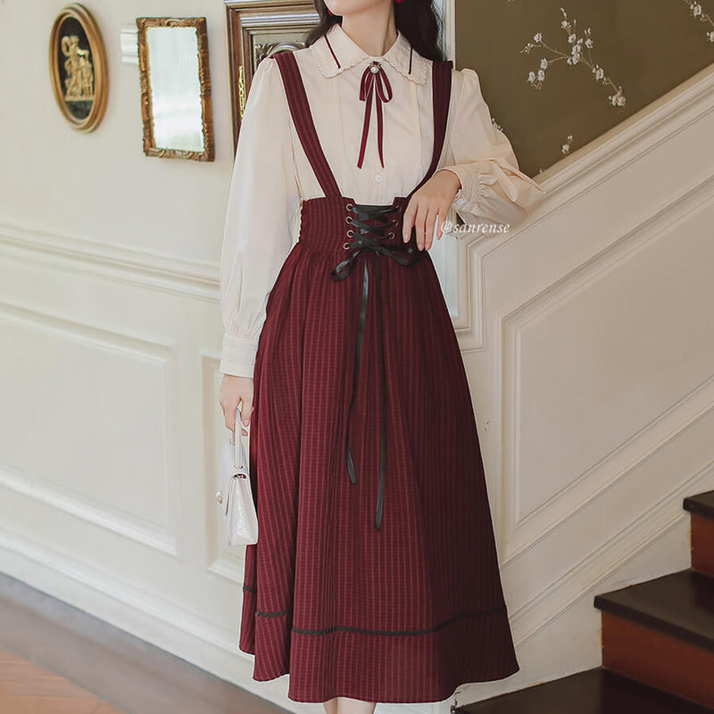 Lace Shirt Striped Suspender Skirt Set SE21174