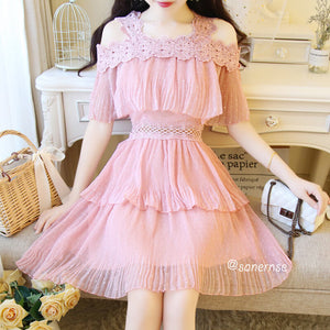 Lace Sling Chiffon Cake Dress SE21014