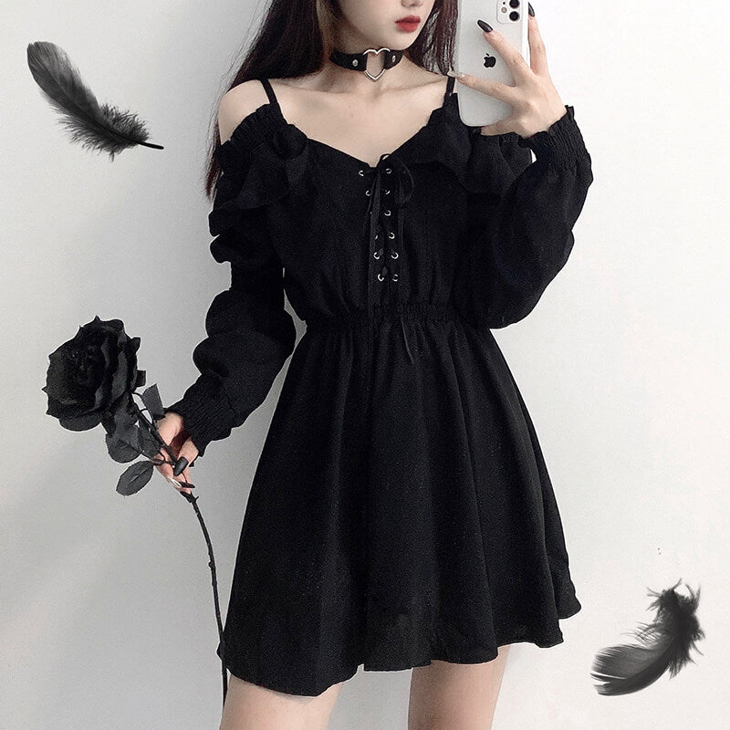 Lace Up Off Shoulder Gothic Dresses SE21499