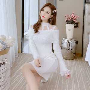 Lace knitted White Dress SE21357