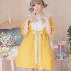 Linen Wheat Embroidered Dresses SE21097