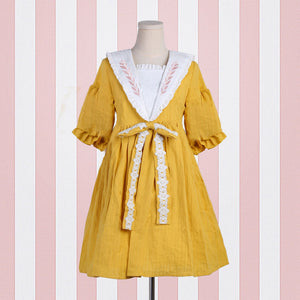 Linen Wheat Embroidered Dresses SE20360