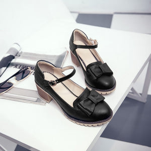 Lolita Bow Block Heels Shoes SE21437