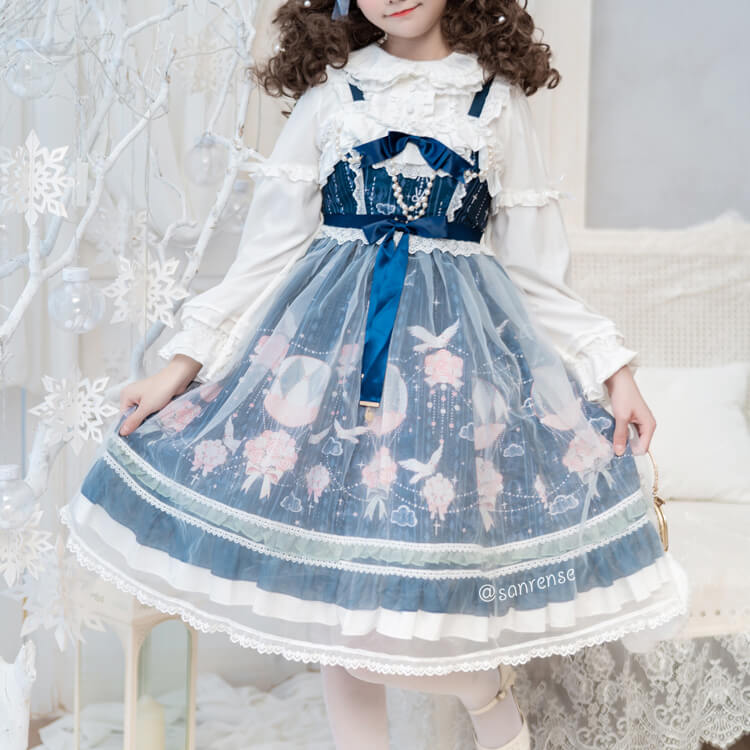 Lolita Lace Shirt Flower Hot Air Balloon Pigeon Dress Set SE21102