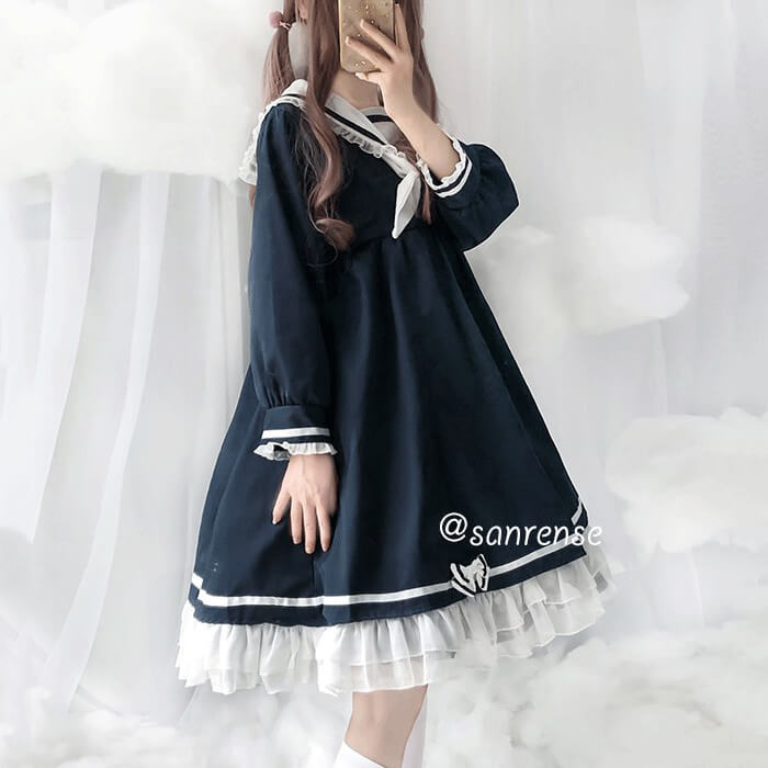 Lolita Sailor Navy Collar Dress SE20945