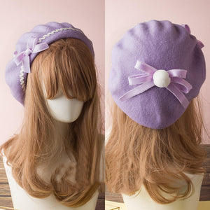 Lolita Berets Bow Plaids Stripe Sailor Students Cap SE20674
