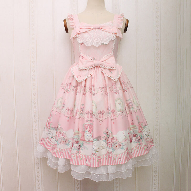 Lolita Crown Cat Bow Midi Dress SE20650
