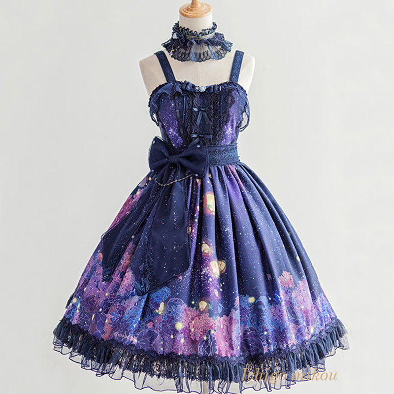 Lolita JK Galaxy Star Night Scene Purple Flower Dress SE20177