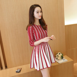 Long-sleeve Striped Knit Jumper Dresses SE20566