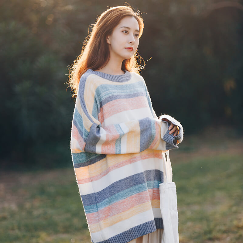 Loose Rainbow Striped Sweater SE20519