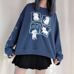 Love Cat Blue Sweatshirt SE21281
