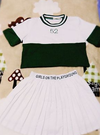 Lovely baseball T-shirt + pleated skirt two-piece outfit