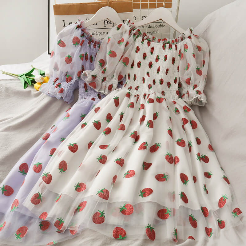 Mesh Strawberry Dress SE21528