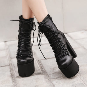 Metal Buckle Zipper Black Ankle Boots SE20559