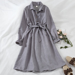 Turn-Down Collar Sashes High Waist Vintage Shirt Dress SE20682