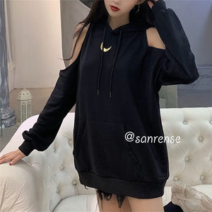 Moon Off Shoulder Loose Hoodie Sweatshirt SE20916