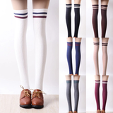 Japanese students stripe knee-high socks