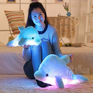 Cute kawaii cartoon dolphins luminous hold pillow