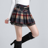 Grid Pleated Woolen Skirt SE9368