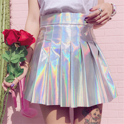 Harajuku,Fashion,Laser,Pleated Skirt,a line skirts,kawaii,cute,