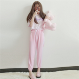 Harajuku Pink Sports Striped Loose Pants SE7953