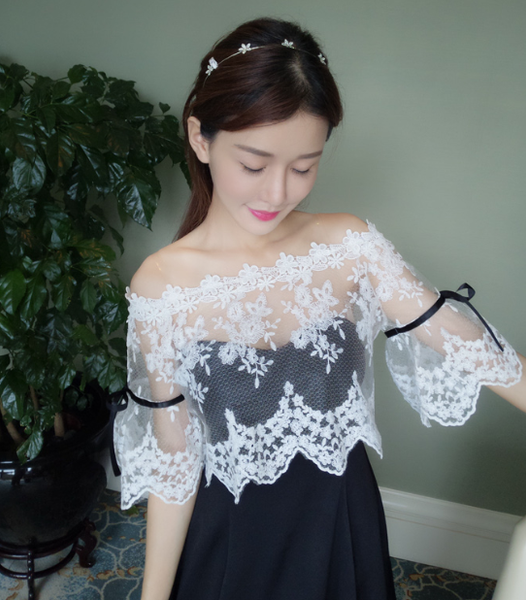 Sweet Lace Dew Shoulder Dress SE10277