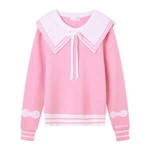 Pastel Bow Navy Collar Wing Sweater SE21149