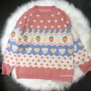 Pastel Love Strawberry Cake Knitted Sweater SE21171