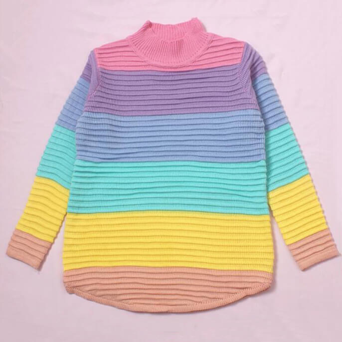 Pastel Rainbow Knitted Sweater SE21277