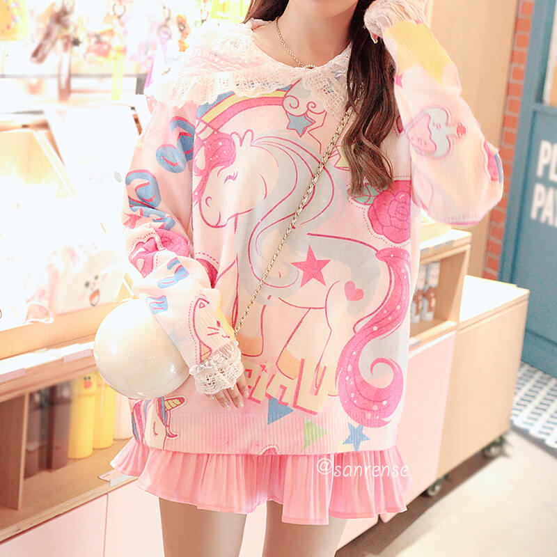 Pastel Unicorn Rainbow Sweater SE21098
