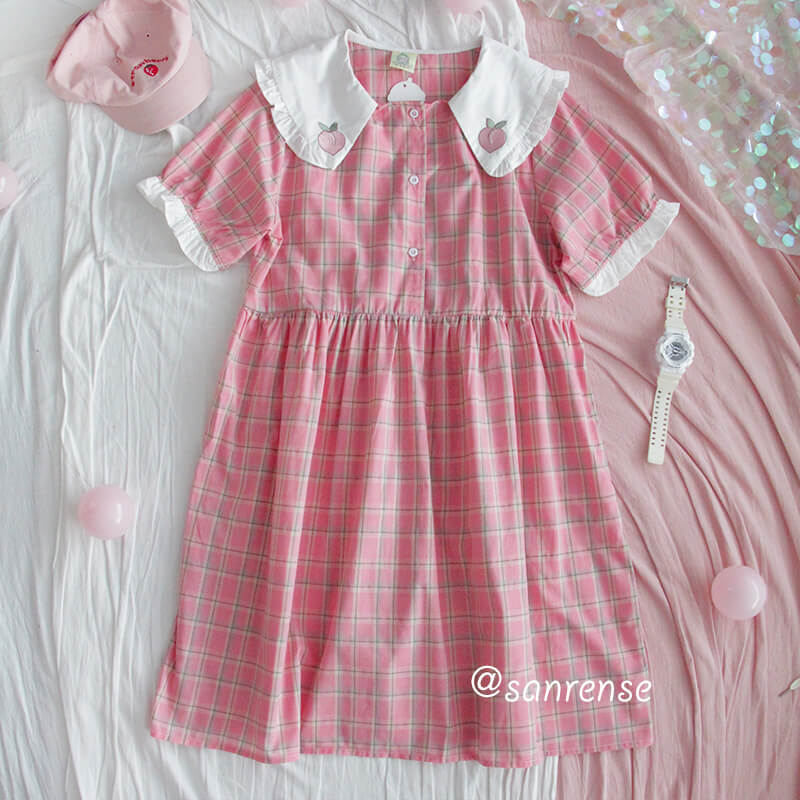 Peach Pink Plaid Doll Collar Dress SE20956