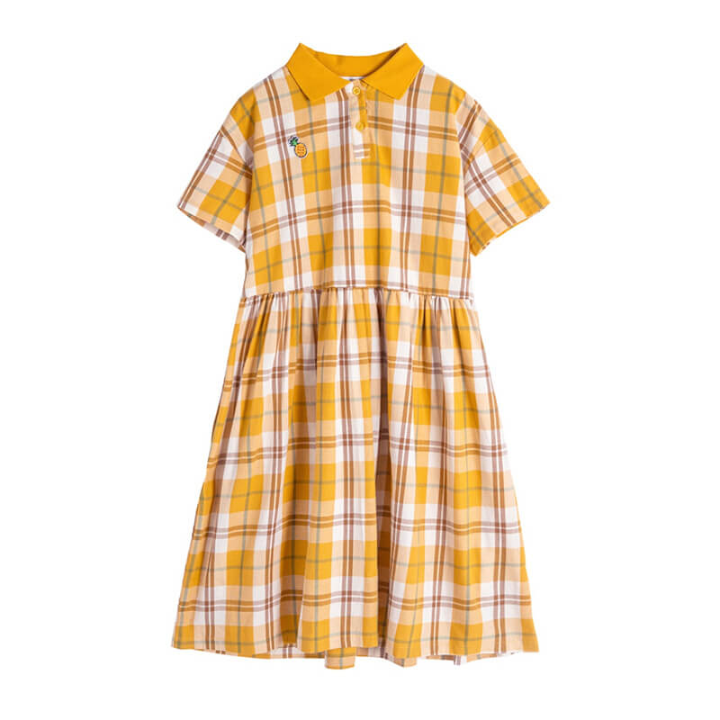 Pineapple Plaid Dress SE20442