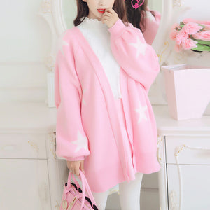 Pink Star Knit Cardigan Sweater Coat SE20784