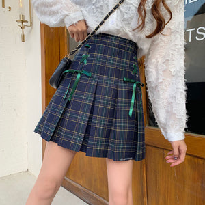Plaid Lace Pleated Skirt SE21348