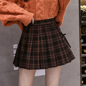 Plaid Woolen Lace-up Skirt SE21371