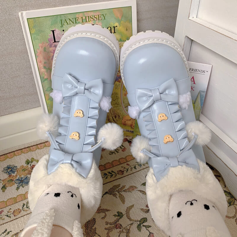Plush Bear Bow Ankle Boots SE21410