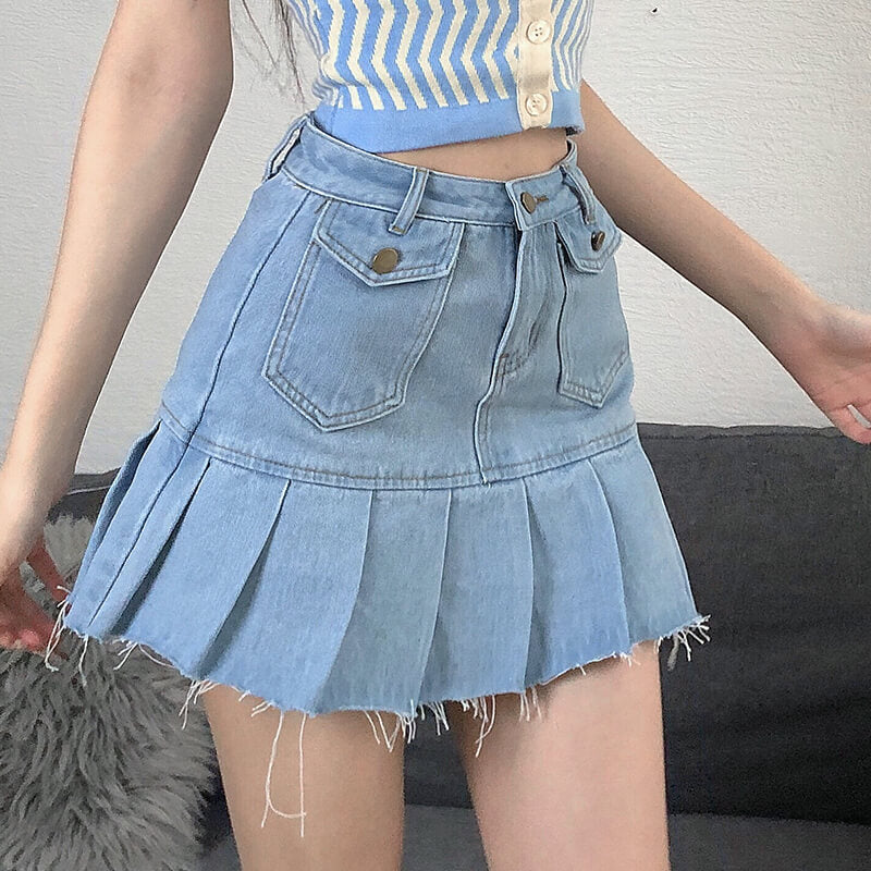 Pocket Denim Pleated Skirt SE21514
