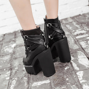 Punk Lace-up Soft Leather Platform Heel Shoes SE21087