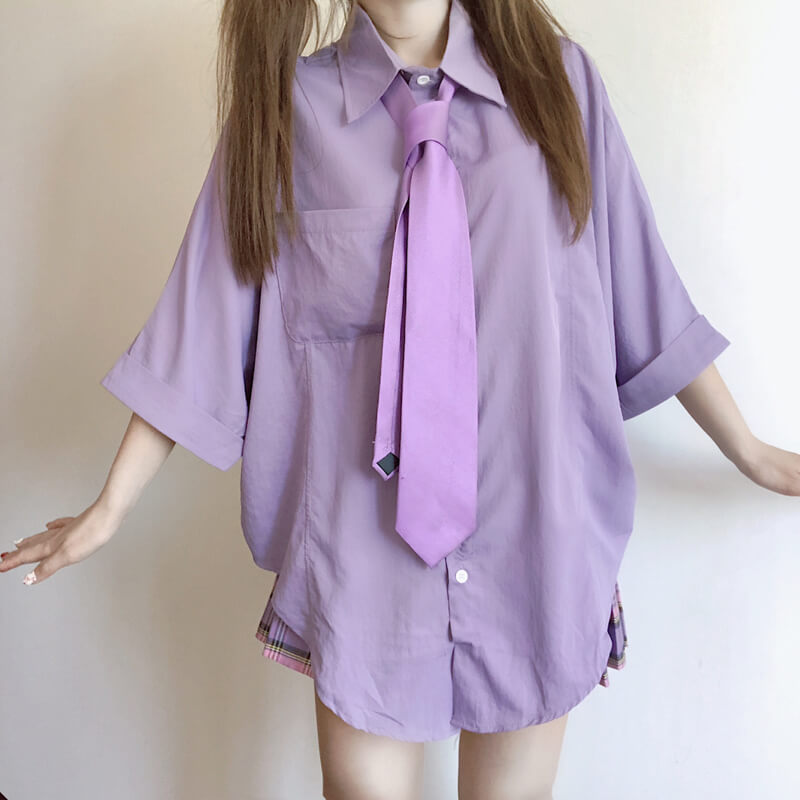 Purple Shirt Plaid Pleated Skirt Set SE20342