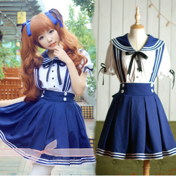 Cute kawaii sailor straps skirt+shirt two-piece SE1659