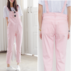Sweet candy color strap trousers