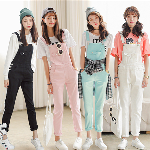Sweet candy color strap trousers SE755