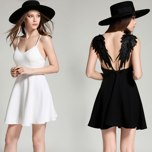 Sexy Backless White / Black Wing Dress SAN44